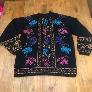 Vintage 80's Metallic Sweater Floral Dana Scott
